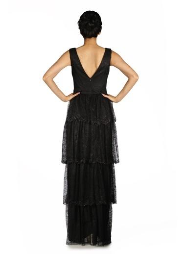 Pierre Cardin Dantelli Boncuklu Uzun Abiye Elbise Siyah